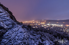 #145 Early Morning Hike (Keele_Photography) Tags: city morning blue mountain snow yellow rock fog lights haze nikon purple angle side wide brush sage tamron 1024mm d7000