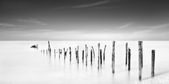 After The Bang (Bill Allen.) Tags: longexposure sea blackandwhite bw white black beach mono nikon nd newhaven minimalism barge minimalist long density neutral black white exposure ww11 neutraldensity density d300s neutral