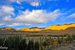 Beauty under clouds !!! (Rambonp love's all the crea) Tags: blue trees light wallpaper sky brown sun india mountains green nature clouds canon landscape grey highway paradise day rivers karakoram leh jk ladakh silkroute himalyas