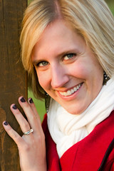 Up Close and Personal (jswieringa) Tags: wood red portrait woman white green eye girl smile face canon nose hand post teeth ring blonde upclose 60d canon60d
