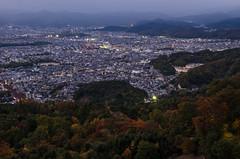 Daimonji-Yama, Kyoto /  (Kaoru Honda) Tags: city autumn sunset nature japan landscape japanese evening nikon kyoto     kansai     japon  redleaves   kinki     d7000