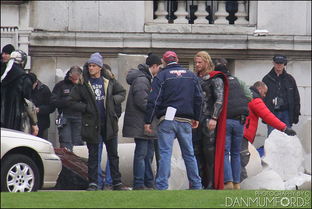 Alan Taylor, Chris Hemsworth, Bobby Holland Hanton and Christopher Eccleston filming Thor:The Dark World
