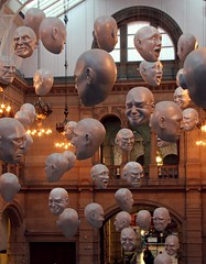 Floating Heads (VelvetJones_) Tags: smile face sad faces glasgow balcony floating angry heads laugh chandeliers frown artgalleries cringe floatingheads kelvingroveartgallerymuseum sophiecave