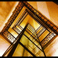 Golden stairs (skymino) Tags: square squareformat lordkelvin iphoneography instagramapp uploaded:by=instagram foursquare:venue=4be853afc5220f472a9aa9ca