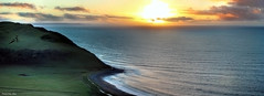 Panoramic of Aberystwyth Bay (SequentialMacro) Tags: sunset sea water 50mm prime hill panoramic aberystwyth hdr canon550d francisprior