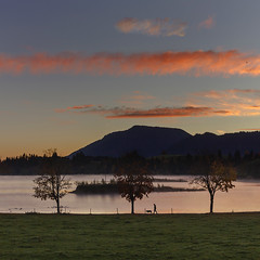 Sunrise in Forggensee Lake (Pilar Azaa) Tags: autumn trees sky dog man mountains clouds sunrise germany lago bavaria rboles europa lawn perro amanecer cielo nubes alemania otoo hombre morningdew montaas baviera csped salidadelsol thegalaxy seleccionar rociodelamaana natureselegantshots 100commentgroup pilarazaa forggenseelake natureandpeopleinnature mygearandme rememberthatmomentlevel1 onlythebestofflickr