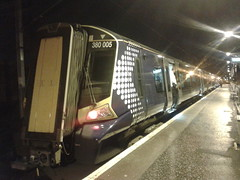 First ScotRail 380005 Paisley Canal 24/11/12 (David_92) Tags: canal first scotrail emu 005 paisley saltire 380 desiro class380 380005