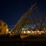 Le strutture per appendere i merluzzi ad essicare - Baia di Svolvaer - Lofoten