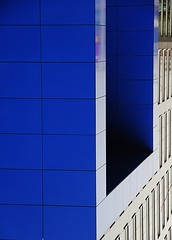 blue-blooded (blick.kontakt - fotoristin) Tags: blue urban abstract lines architecture office geometry entrance brogebude architektur blau twisted esprit ratingen gedreht geometrie linien eingangstr