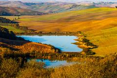 Twin lake (Karmen Smolnikar) Tags: morning light two italy lake italia twin hills tuscany crete siena toscana asciano senesi stradalauretana