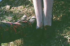 Two pairs (MalloryWilliams) Tags: girls fall film floral girl grass fashion photography legs pentax lace leg flats converse oxford mesuper filmphotography oxfords lowtops lacetights oxfordflats