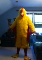 Chicken suit 62 (ChickenJay) Tags: bird chicken yellow happy costume transformation mask wing beak suit talon hen birdbrain toony