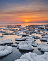 Lake Huron Sunrise, Port Hope, Michigan (Michigan Nut) Tags: winter sky usa snow seascape reflection ice clouds sunrise point landscape midwest michigan scenic floating greatlakes aux lakehuron barques johnmccormick michigannutphotography