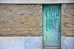 Know Love (Pedestrian Photographer) Tags: dsc5179b dsc5179 green door know love brick opening building toronto canada scrawl written graffiti ribbet ontario july 2016 summer