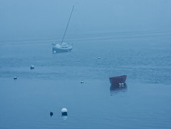 Two Boats in Fog - Cape Cod (JohnColeUSA) Tags: capecodma summer shore coast coastal beach sea water bay fog rowboat sailingboat lowtide minimalism minimalist boat mist harbor