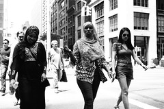 The Girls of Summer (stillsguy) Tags: nyc summer bw park ave young girls crossing busy blvd hot 98degrees sultry oppressive heat bright desert conditions traffic streetphotography minolta cle mrokkor 40mm f2 fujifilm neopan 400 expired