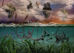 Strange Sea's (brian_stoddart) Tags: fantasy octopus fish sea boat sky clouds buildings surreal