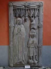 ca. 1406 - 'Batrice (Batrix) de Beau(s)sart (1419) and son Guillaume de Melun (+1406)', castle chapel, Chteau d'Antoing, Antoing, province of Hainaut, Belgium (roelipilami) Tags: 1406 beatrice beatrix de biausart beausart beaussart guillaume melun 1419 antoing chateau castle kasteel hainaut belgium dalle funraire grafbeeld grafplaat tomb effigy gisant sepulcro grabmal grabdenkmal grafmonument grave son mother tabard surcotte surcoat mail standard boy belt houppelande titling helm frog mouth helmet bull crest spur armor armour knight ritter rstung harnas armure sabaton wapenrok collar