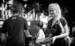 Pretty & The Bowl of Chocolate (Just Ard) Tags: girl woman pretty blonde freebie chocolate people person face street photography candid unposed black white mono monochrome bw blackandwhite noiretblanc biancoenero schwarzundweis zwartwit blancoynegro  justard nikon d750 85mm