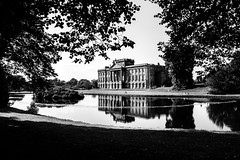 76/100x - Lyme Hall (Nomis.) Tags: canon eos 700d t5i rebel canon700d canoneos700d rebelt5i canonrebelt5i monochrome mono bw blackandwhite 100x 100xthe2016edition 100x2016 image76100 sk201608180380raweditlr sk201608180380 raw lightroom lymepark lymehall lyme park hall cheshire disley nationaltrust listedbuilding gradeilistedbuilding gradei architecture pond lake southfront reflect reflection water silhouette shadow tree