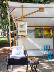 Nathan Vieland modified this traditional wooden Market booth into a gallery space (marketkim) Tags: booth eugene oregon saturdaymarket festival artfair eugenesaturdaymarket artfestival