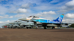 Special Luftwaffe Eurofighter. (spencer.wilmot) Tags: typhoon eurofighter specialcolours speciallivery specialmarkings germanairforce luftwaffe riat royalinternationalairtattoo egva ffd fairford ramp apron airplane aviation aircraft militaryaviation airside airshow airport airbase clouds plane jet eveninglight evening fighter taxiway 3068 ef2000