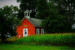 The school by the cornfield (SCOTTS WORLD) Tags: adventure abandoned architecture america angle sky shadow grass summer rural trees schoolhouse school oneroomschoolhouse antique clouds country august 2016 fun historic color corn field brick building brown light leaves landscape sanilac michigan midwest panasonic pov perspective old marlette 1856 dilapidated