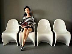 Waiting room (Deejay Bafaroy) Tags: barbie madetomove mtm mattel doll puppe asian white weiss black schwarz stripes streifen striped gestreift diorama 16 scale playscale miniature miniatur panton chair chairs stuhl sthle waitingroom wartezimmer gray grey grau