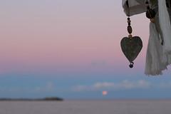 Sweetness & full moon rising (Aurlie Lb) Tags: full moon rising sunset beach degrad rose coeur coast heart plage plaja sweetness douceur pastel