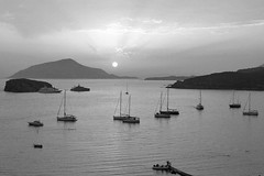 Sunset in Sounion (b/w) (st.delis) Tags: sunset sky sea attica hellas outdoor