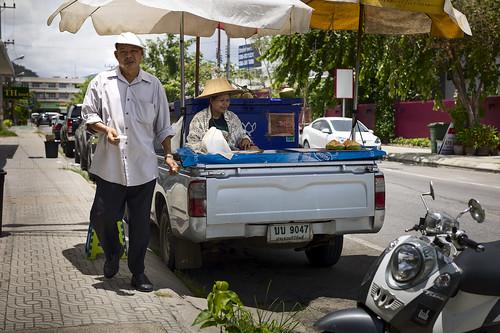 Coconut juice street vendor