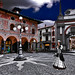 The lady Landa Ludmilla Mafalda Gertrude Vespucci Saltinguerra walks along Ducale square