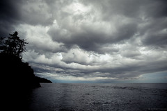 Gray sky over Lake Superior (michaelraleigh) Tags: landscape f28l lakesuperior highquality storm sunset 2035mm canon statepark outdoors clouds tettegouche shadows summer shovelpoint silhouette beautiful serene infocus secluded trail sky park minnesota lake dark gray
