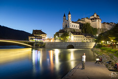 Aarburg II (MB*photo) Tags: aarburg aare suisse heurebleue wwwifmbch aar switzerland bluehour schweiz castle chteau river rivire glise church pche fisherman pcheur lumire lights reflection