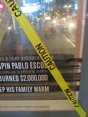 Narcos Bus Shelter Pile O Money AD - UPDATE They stole the fake money 5528 (Brechtbug) Tags: narcos bus shelter pile o money ad tv show stop with piles slightly singed real fake or is it 2016 nyc image taken 09172016 midtown manhattan new york city 49th street 7th ave st avenue moola bogus update they stole