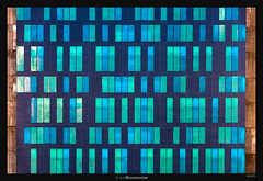 Walled Blue Green Code (Ilan Shacham) Tags: abstract architecture minimalism windows window code pattern texture concrete blue green fineart fineartphotography telaviv israel courts justice tower building