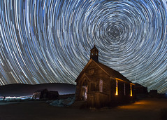 Starry Night over Bodie Church (Jeffrey Sullivan) Tags: california park copyright usa lightpainting building abandoned architecture night canon photography town photo october state decay ghost workshop ghosttown historical bodie 2012 startrails easternsierra bodiestatehistoricpark flickr10 5dmarkii bdsh