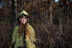315/365 - Little Green Riding Hood? (djwtwo) Tags: trees portrait kid nikon brush lowsun strobist 365project overpowerthesun d7000 afsdxvrzoomnikkor18200mmf3556gifedii 3652012