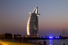 Burj Alarab (Wisssss) Tags: sunset sea beach lights hotel dubai united emirates arab shore luxury 7star burj alarab