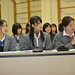 Students from Shibuya Junior and Senior High School speak with UN Women Executive Director Michelle Bachelet during an interactive discussion with on 12 November 2012