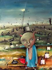 Where The Devil Says Goodnight (Monica Blatton) Tags: portrait people bird cemetery animals mystery modern handmade contemporary surrealism fineart surreal handpainted oil demon devil ladder oilpaintings crows oils mystic ravens oilpainting figurative oiloncanvas blatton canvaspainting