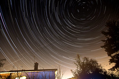 Three hours in the Garden (weirdoldhattie) Tags: longexposure urban night garden bristol stars nightime startrails polaris northstar
