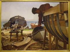 Dominik Skuteck, Workers Building Boats in Capo dIstria, 1903 (DeBeer) Tags: art museum painting landscape boat dock gallery nationalgallery menatwork coastal worker slovensko slovakia artmuseum shipyard 20thcentury bratislava boatbuilding 1903 istria landscapepainting early20thcentury modernpainting modernlandscape banskbystrica 20thcenturyart coastalscene bystrica slovaknationalgallery 20thcenturypainting skutezky slovensknrodngalria slovakart slovakpainting dominikskuteck skuteck dominikskutezky capodistria