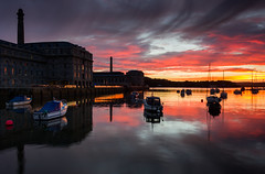 RWY sunset (snowyturner) Tags: sunset water clouds creek boats plymouth devon tamar stonehouse royalwilliamyard
