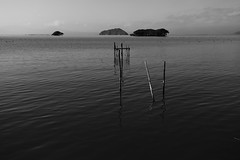The Biwa Lake (Teruhide Tomori) Tags: bw lake water japan landscape island shiga kohoku biwa    chikubuisland