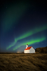 [ ... a message from above ] (D-P Photography) Tags: light green church night canon stars island eos star iceland ancient message magic aurora canoneos mystic auroraborealis northernlight norhernlights canoneos5dmarkiii