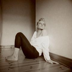 Alina (kittacabe) Tags: portrait mamiya film sepia polaroid model type instant medium format 100 peel alina apart rb67