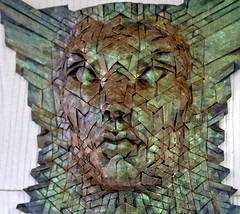 dryad (origami joel) Tags: green paper gold origami paint mask interference folding