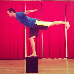 Warrior III Pose / Airplane on blocks #yoga #b...