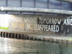 Imagine waking tomorrow (P'ptje) Tags: street new city england urban london water canal h2o change borough hackney slogan eastlondon northeastlondon greatbrittain